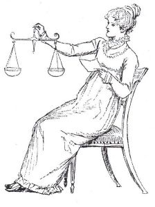 Elizabeth Bennet with the scales of justice