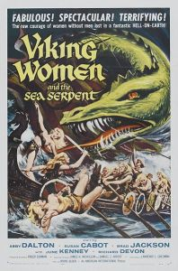 Viking women fighting off an enormous sea dragon