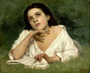 Young Hispanic woman looking up from a book, seeming to daydream.