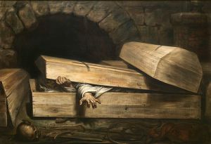 painting of a cholera victim who has been prematurely buried, struggling to get out of a coffin.