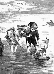 Two children in the ocean playing with dolls in a toy boat.