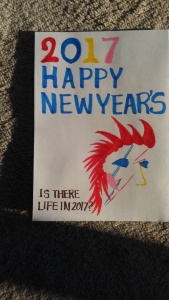 New Year's post card with David Bowie as a rooster
