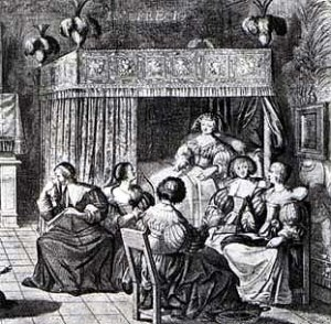 Woman in 17th century dress, entertaining female friends from her curtained bed.