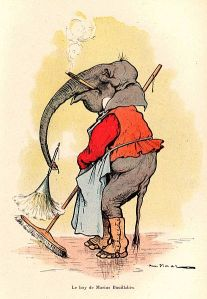 Elephant with broom and featherduster