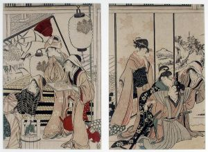Ukiyo-e of samurai and various servants doing housecleaning