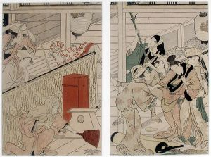 Yoshiwara district cleaning of the house. One servant chases out rats with a broom. Several servants are carrying out a dishevelled person in leggings.