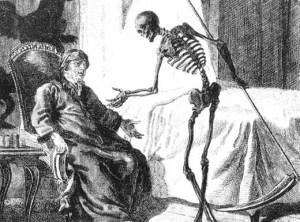 The grim reaper extending a hand to an elderly gentleman in his bedroom.