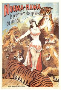 Nineteenth circus poster with a young lady taming several tigers and lions.