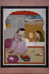 A beautiful Persian woman writing a letter, while another woman is waiting outside her window. Consulting? The Messenger?