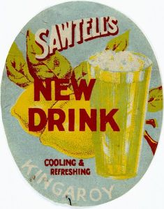 old advertising of a lemonade drink with lemons
