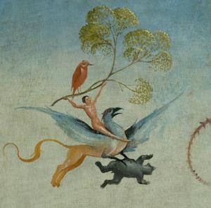A man holding a giant sprig of dill seed while flying on a griffin that is carrying some sort of prey, and there's another man-sized bird on the dill.