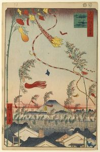 A woodcut from 1857 showing Tanabata willows covered with wishing strips and summer decorations. A light wind is blowing and making them flutter above the rooftops.
