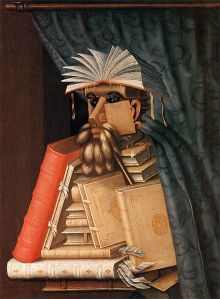 A portrait of a librarian made up of large and small books, a feather duster, a library curtain and various other accoutrements.