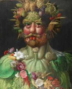Rudolph II portrait made up of fruits, vegetables and flowers. Very green and fresh.