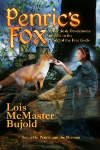 """Penric's Fox"" title cover with a castle, a fox and a ghostly young woman in elegant medieval robes."