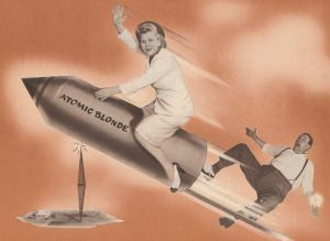 Stylish 1950s matron riding a rocket over a radio station while her male co-host tumbles in her wake.