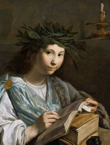 A muse (Clio) writing in a book.