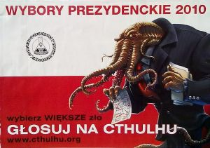 Polish political poster featuring a Cthulhu in a suit carrying mystical paperwork.