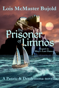 e novella cover; Greek monastery, stormy sea and a ship