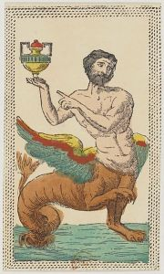A hybrid man-fish-lion-eagle bearing a cup; remarkably friendly-seeming for a monster