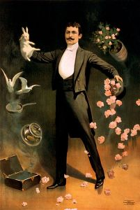 A magician pulling a rabbit, cards, flowers, fish and pigeons out of a top hat.