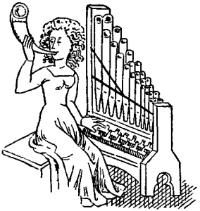 A 14th century lady in a long gown who is pressing an organ key, and tooting a small horn towards her audience.