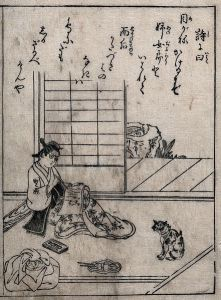 A Japanese woman writing on a scroll of paper.