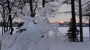 Ice sculpture of a swordsman on a horse