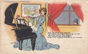 Postcard with a limerick, depicting a young woman playing the piano and a policeman peeping through the window.
