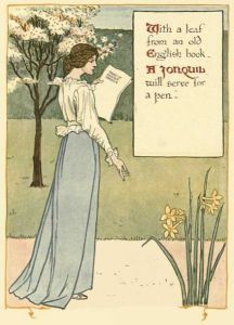 A girl holding a page, next to blooming daffodils