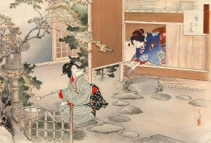 One woman in a plain kimono getting water from a garden well, and other in a fancier kimono clapping straw sandals together outside of a very low door. She is kneeling, and she still has to duck to reach the sandals outside.