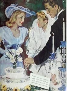 1950s wedding scene with a female guest approaching the bride and groom as they cut the cake.