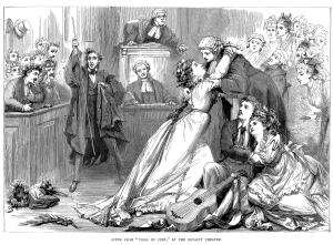 A young lady from the mid-1800s embraces a judge in a courthouse; at the foot of his bench, two lovers embrace, and there's a guitar on the floor, bedecked with ribbons.