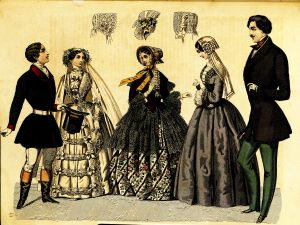 Five Swedish people in fashionable dress, circa 1851; person one and two are getting married, I think. There is a curious exchange of glances amongst the five, though.