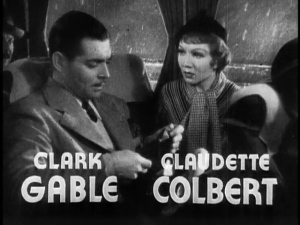 Clark Gable and Claudette Colbert on a bus for It Happened One Night.