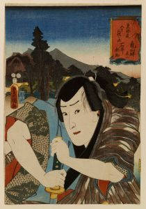 A handsome samurai leaning on his sword in a Japanese ukiyoe wood cut print