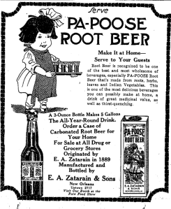 Old ad for Zaratarain's root beer syrup with a little girl carrying a tray of small glasses