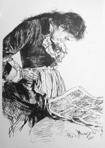 A young lady from the mid-1800s reading a newspaper.