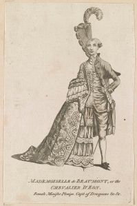 Old French print of a person dressed perfectly as female Mmme Beaumont on half of the body, and male Chevalier D'Eon on the other half. It's the juxtaposition that doesn't conform.