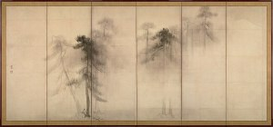 Japanese print of pines in the fog, barely depicted, and it's on a folding screen, so it's very segmented. Evokes the subconscious.