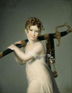 A young girl from the early 1800s carries a big fancy sword over her shoulder.