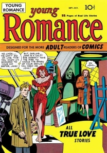 Issue one from Young Romance, featuring a sister-sister rivalry romance