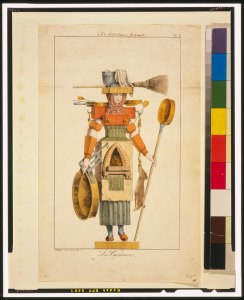 A warrior chef made up of kitchen items (her body is a wood stove, and she carries a mixing tub and a warming pan.