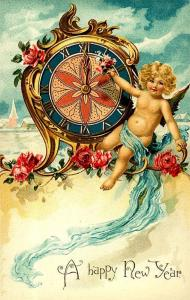 Baby New Year with sunshine and roses and a midnight clock