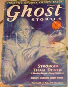 A grizzled ghost from an old magazine looks at a young woman in a bed, possibly.