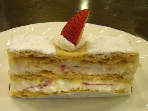 Puff pastry with a layer of cream, more pastry, more cream, more pastry . . . more better! Strawberry on top.