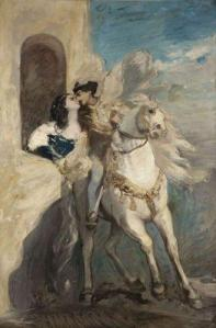 A man on horseback kisses a young lady who is leaning out her window.