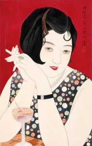 "A stylish Japanese modern girl with a black bob, beautiful eyes and lips, and a stylish sheath dress. The art is titled ""Tipsy""."
