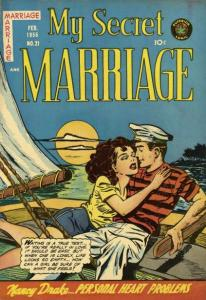 """A girl and a sailor on a boat under the moonlight; the imagery is dark blue, and reflects the """"My Secret Marriage"""" theme of the cover of the magazine."""
