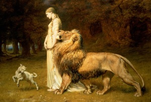 A lady with one lion fawning on her, and a lamb leading the way.